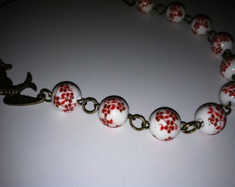 Brass Bird necklace, brass beaded necklace
