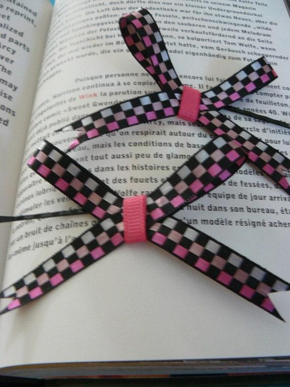Pink Black and white ribbon hairbows with pink middle (pair)