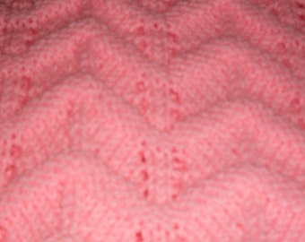 New Baby Toddler Embossed Ripple  Hand Knitted  Afghan crib Vintage Look Infant Girls Blanket in Bubble Gum Pink Ripple Baby Girls Gift