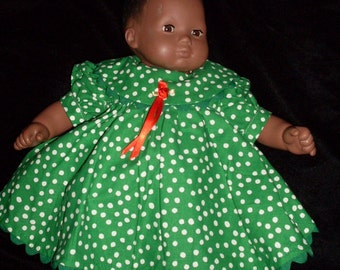 Green dress with snowballs for Bitty Baby