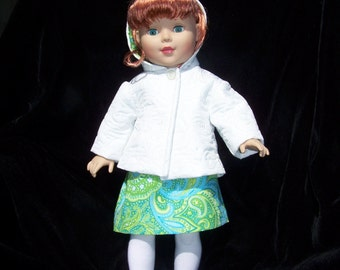18in Doll American Girl Spring Jacket and Dress in White and Green Print