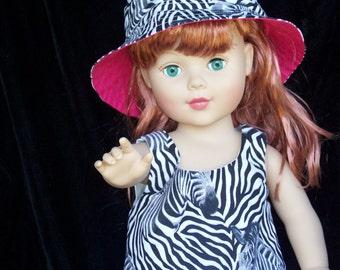 American Girl Straight Dress, Bucket Hat with Zebra Print fabic Pink ruffles