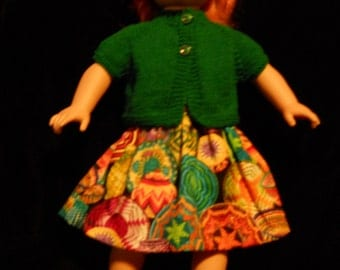 Hand Knitted Top And Skirt for American Girl Doll