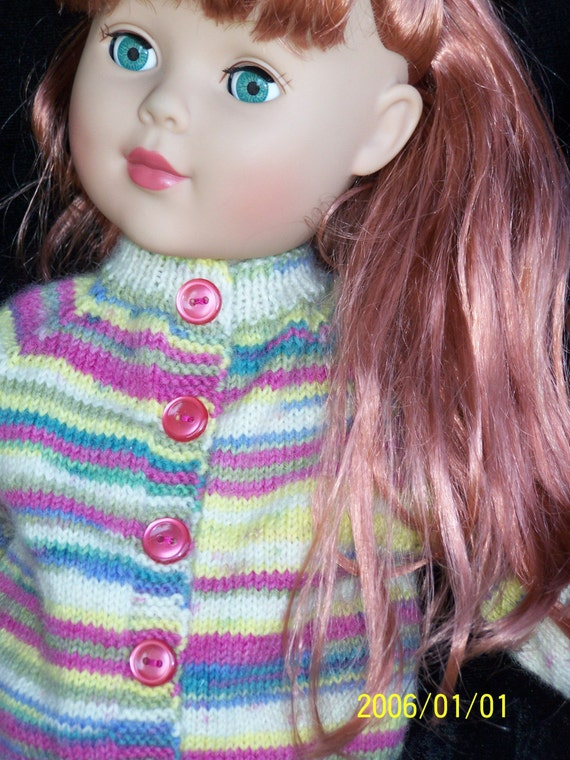 Hand Knitted 18in  American Girl Doll  Sweater