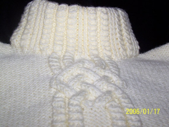 Aran Irish Fisherman Hand Knitted Plus Size  or Oversized  Sweater  in cream for Adults Just Reduced