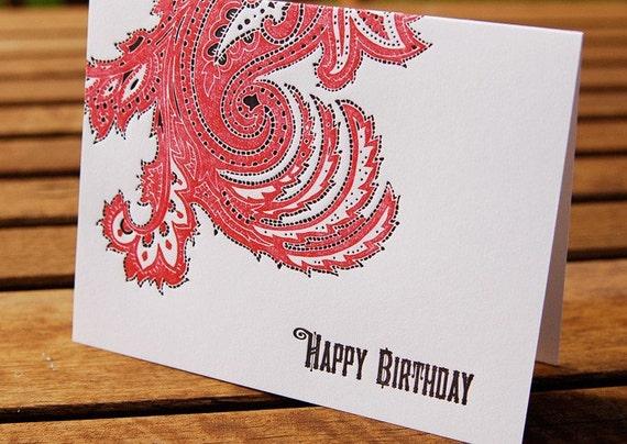 CLEARANCE: Happy Birthday Bandana Paisley Letterpress card