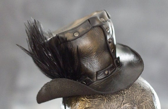 Handmade Leather Mini Top Hat - Black with Feather