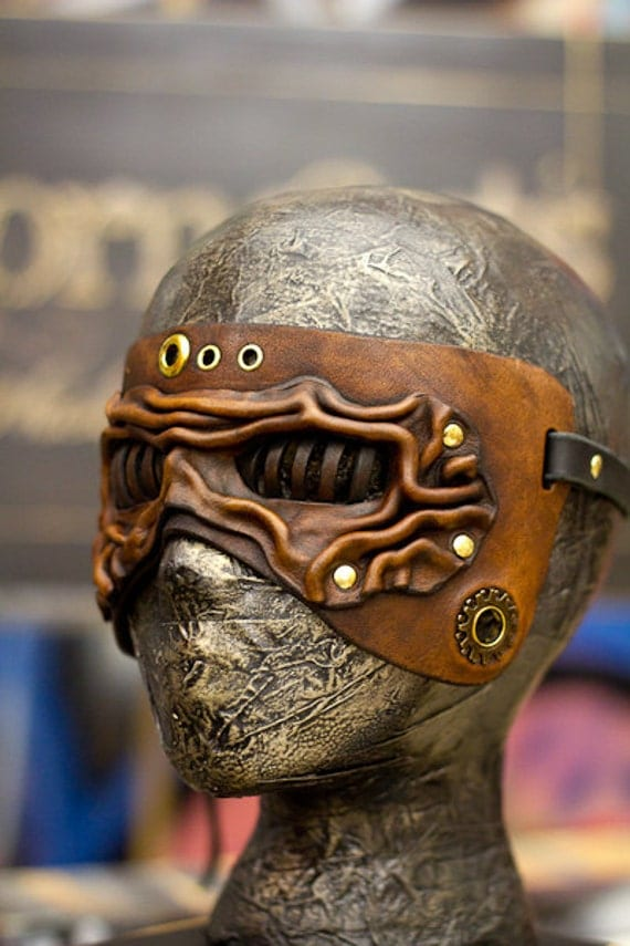 Brown Steampunk Eye Cage Handmade Leather Mask