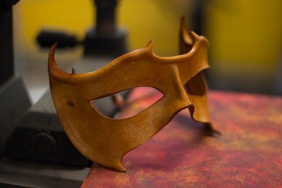 Horned Light Brown Handmade Leather Mask