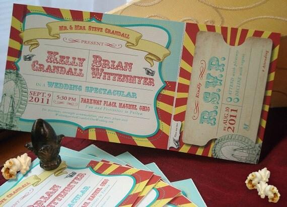 Under the BigTop Vintage Carnivale Wedding Invitation Set... Sample