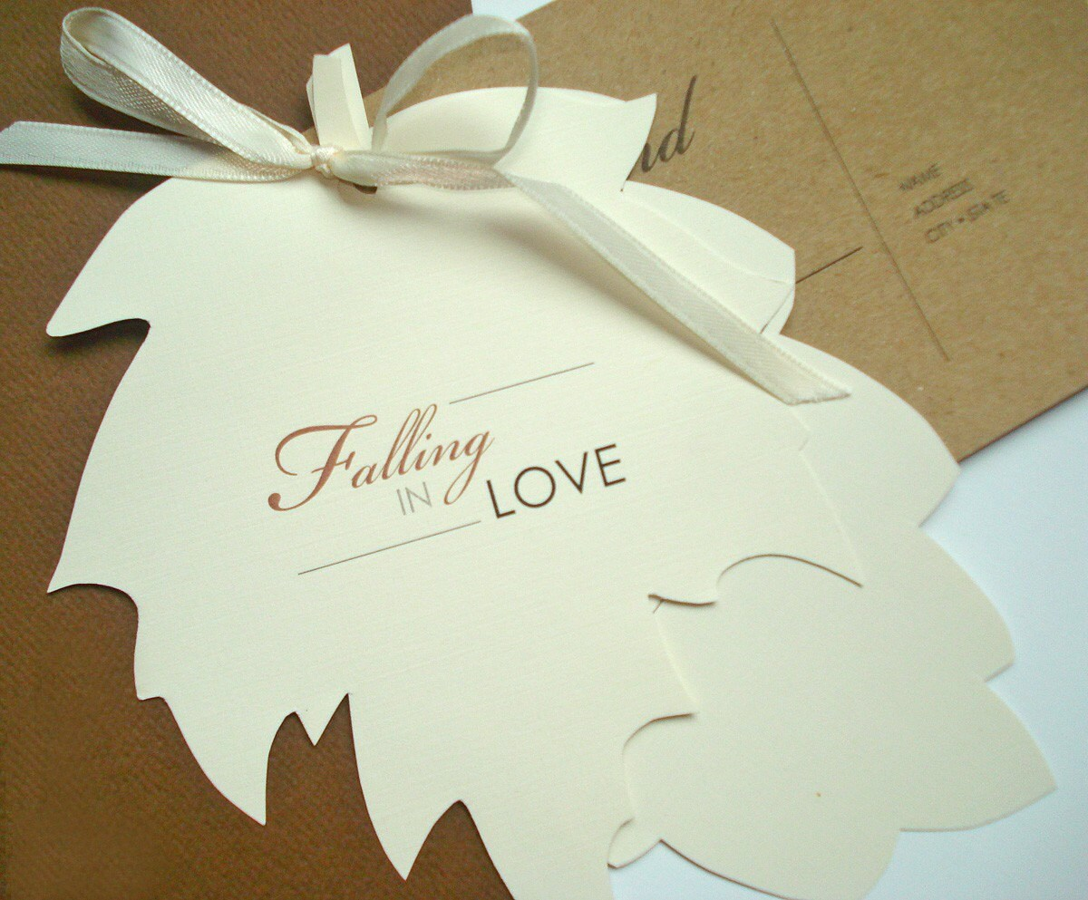 FALLING IN LOVE Fall Leaves Wedding Invitation or Save The