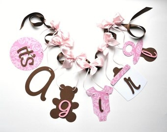 Pink and brown baby shower decorations it's a girl banner with bows by ParkersPrints