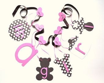 Baby shower decorations it's a girl banner in pink and brown polka dots by ParkersPrints on Etsy