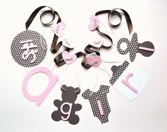Baby pink and brown baby shower decorations it's a girl banner by ParkersPrints on Etsy