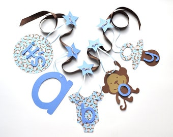 Monkey baby shower decorations blue and brown it's a boy banner by ParkersPrints on Etsy
