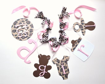 Cheetah baby shower decorations leopard and baby pink it's a girl banner with bows by ParkersPrints on Etsy