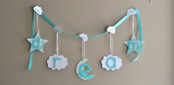 Dream banner bedroom nursery wall decoration by ParkersPrints on Etsy