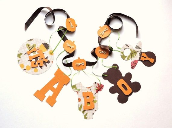 Autumn baby shower decorations it's a boy banner in orange and brown by ParkersPrints on Etsy