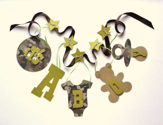 Camo baby shower decorations It's a boy banner by ParkersPrints on Etsy