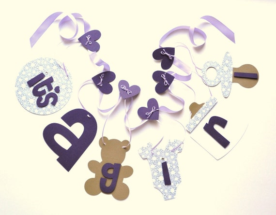 Lavender baby shower decorations it's a girl banner by ParkersPrints on Etsy