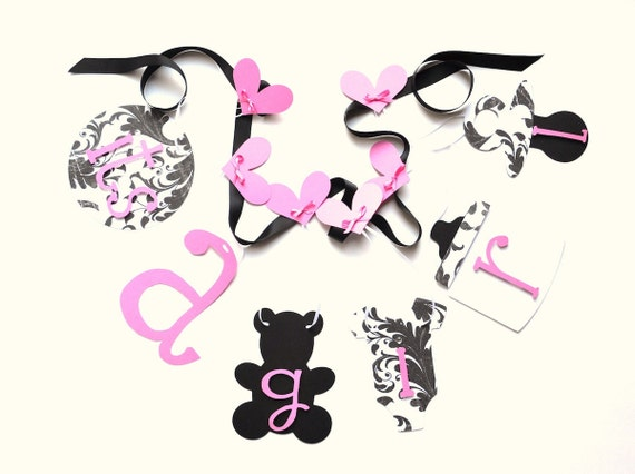 Pink and Black Damask baby shower decorations it's a girl banner by ParkersPrints on Etsy