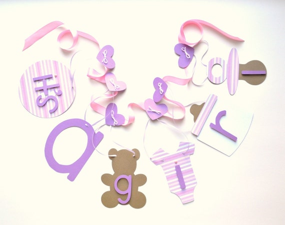 Lavender and pink It's a girl banner, baby shower decorations by ParkersPrints on Etsy