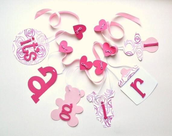 Super pink baby shower decorations it's a girl banner by ParkersPrints on Etsy