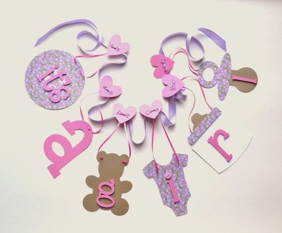 Lavender and pink baby shower decorations it's a girl banner by ParkersPrints on Etsy
