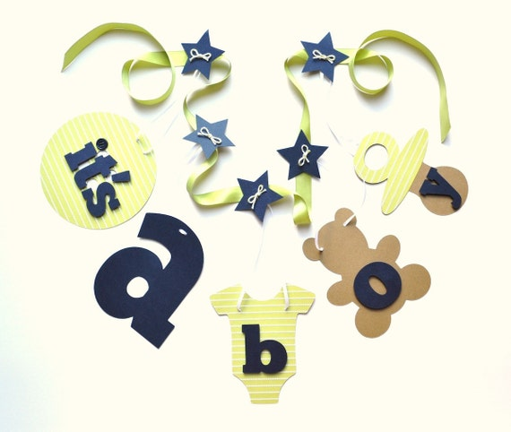 Navy blue and green baby shower banner decorations It's a boy banner by ParkersPrints on Etsy