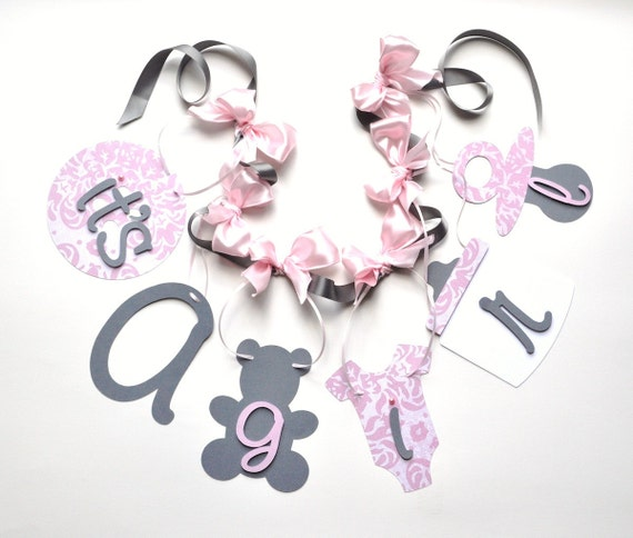Pink and grey baby shower decorations it's a girl banner with bows by ParkersPrints