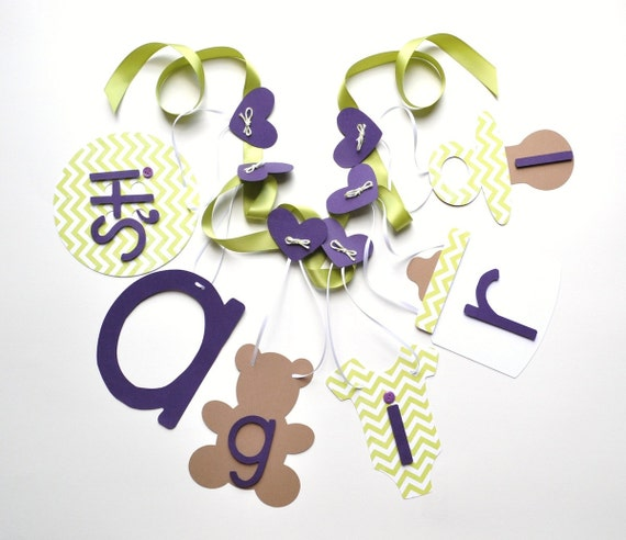 Purple And Lime Green Baby Shower Decorations Chevron It 39 S