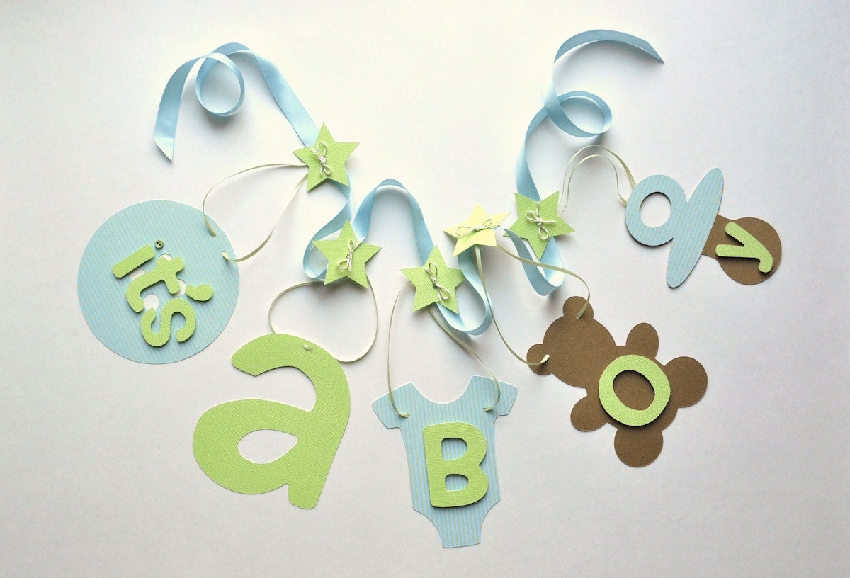 Blue and green baby shower decorations It's a boy banner