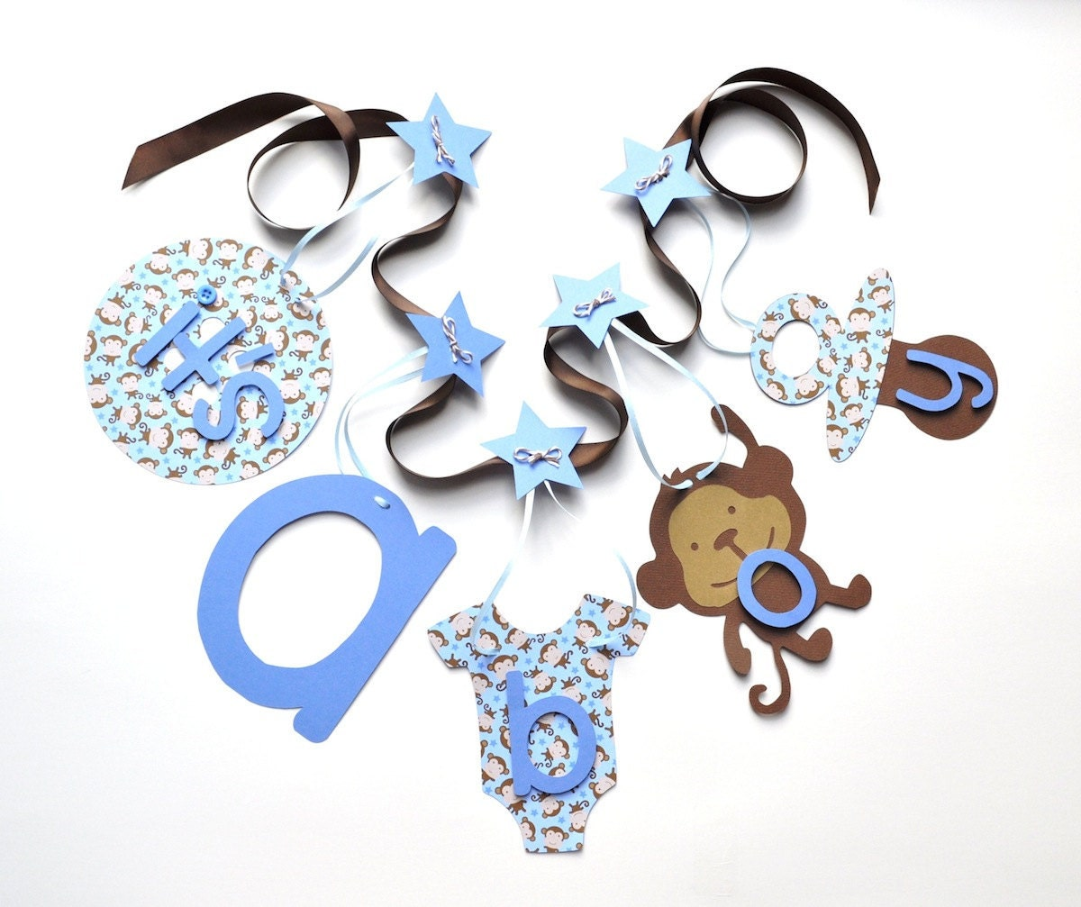 monkey baby shower decorations blue and brown it 39 s a boy