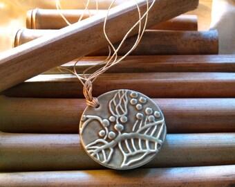 Sage Green Porcelain Pendant Necklace