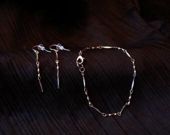 Shimmering Elegance - Sterling Silver Bracelet and Earring Set