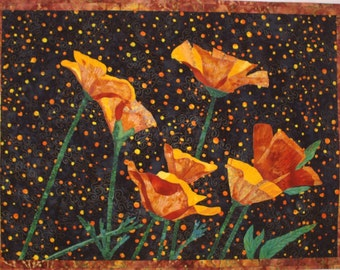 Yellow Poppies VII Original Art Quilt by Lenore Crawford