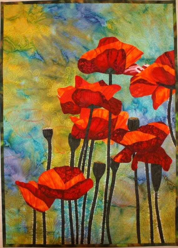 Red Poppies Pattern for Art Quilt with Fabric by Lenore Crawford