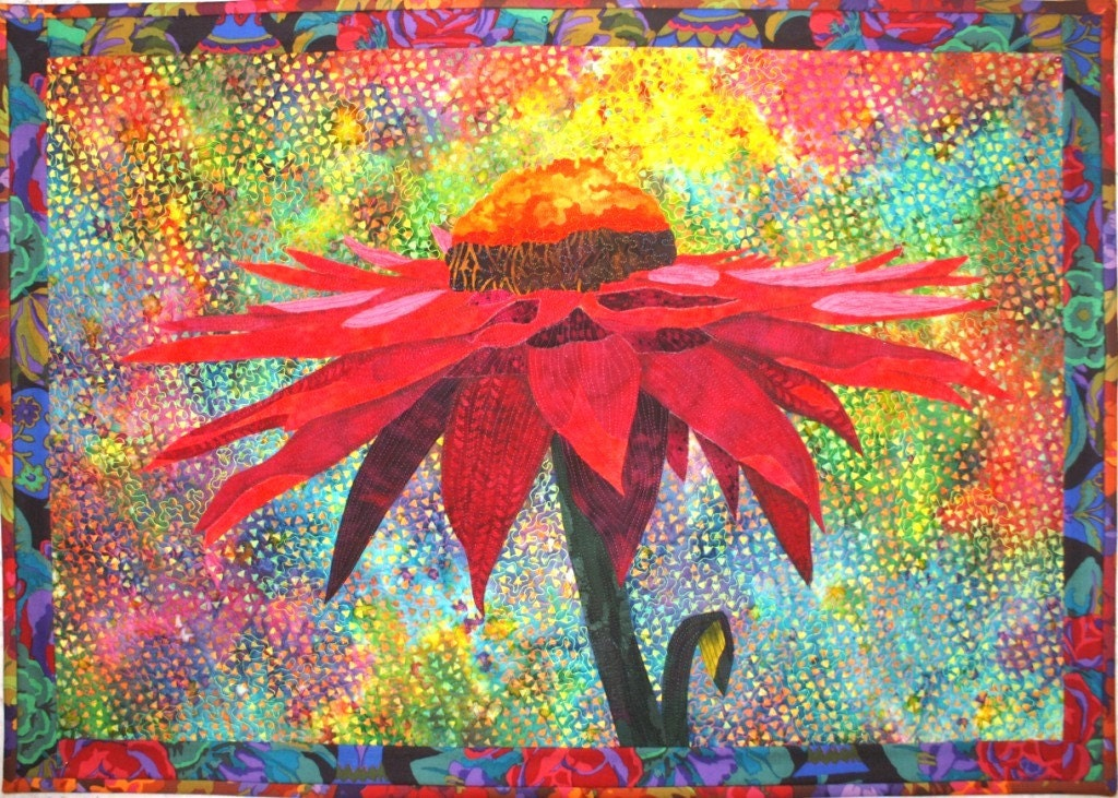 Magenta Cone Flower Art Quilt Pattern With Fabric By Lenore
