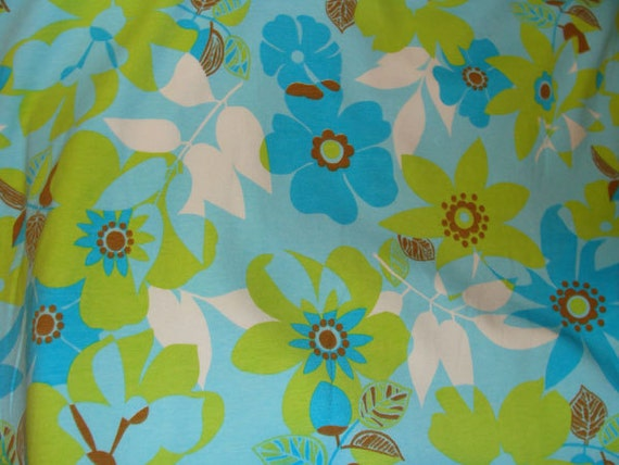 Items similar to kids cotton knit fabric blue floral for Kids knit fabric
