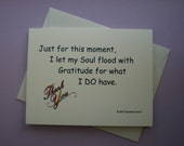 Note Card - Quirky Pocket Therapy  Note Card - I Let My Soul Flood With Gratitude.  (NC9)