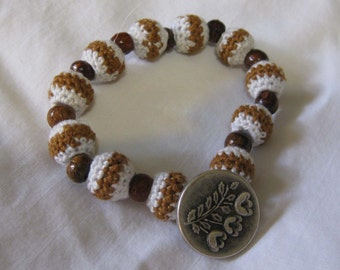 Lily of the Valley Bracelet with Crocheted and Wooden Beads