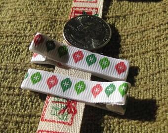 Child Alligator Clip Barrettes Holiday Christmas Ornaments