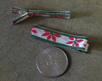 Child Alligator Clip Barrettes Holiday Christmas Poinsettias