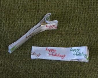 Child Alligator Clip Barrettes Holiday Christmas Happy Holidays