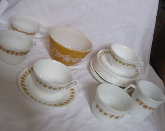 LOT Vintage Pyrex and Corning Corelle Butterfly Gold Teacups, Saucers, Dessert Plates, Mugs, Sugar\/Creamer