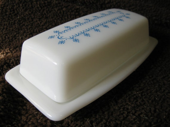 Vintage Pyrex Butter Dish Snowflake Blue Garland Winter Milk Glass Made in USA