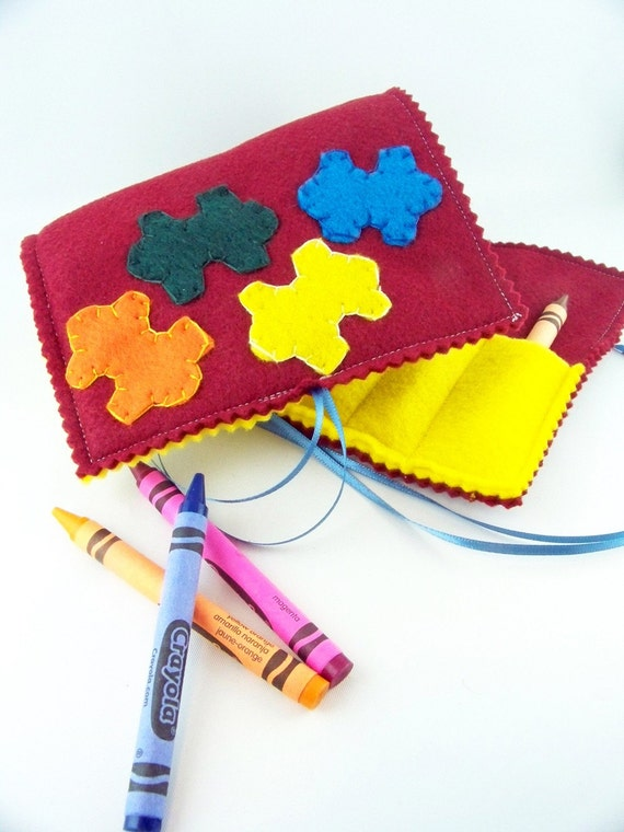 Delux Puzzle Piece Crayon Roll - crayon and notepad holder - tie closure - SPRING CLEANING SALE