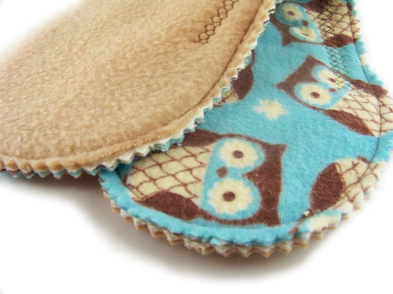 Medium Absorb Long Peanut Pad in Hoot Owl - Reusable Cloth Pad