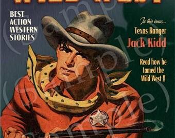 Wild West Texas Ranger Cowboy Art Print - Personalized 16x20