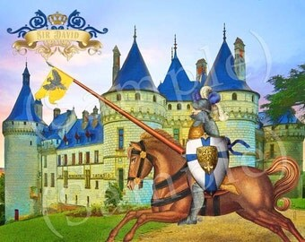 Knight and Castle Art Print - Personalized 16x20